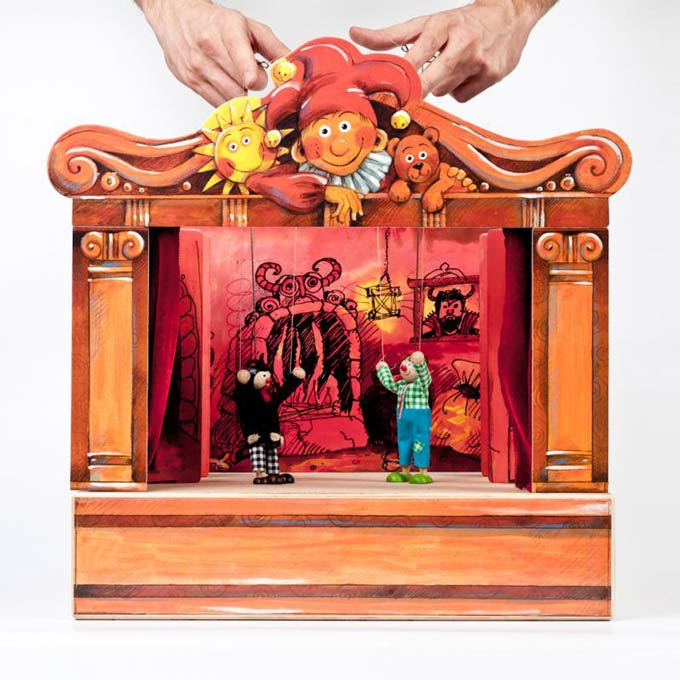 Buy Wooden Puppets Theater And 14 Marionettes Online Size