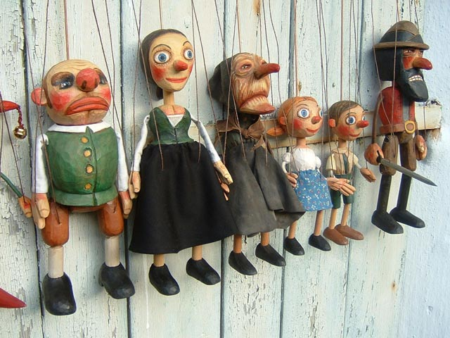 Collection  6 marionettes puppets