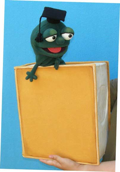Book with bookworm foam puppet
