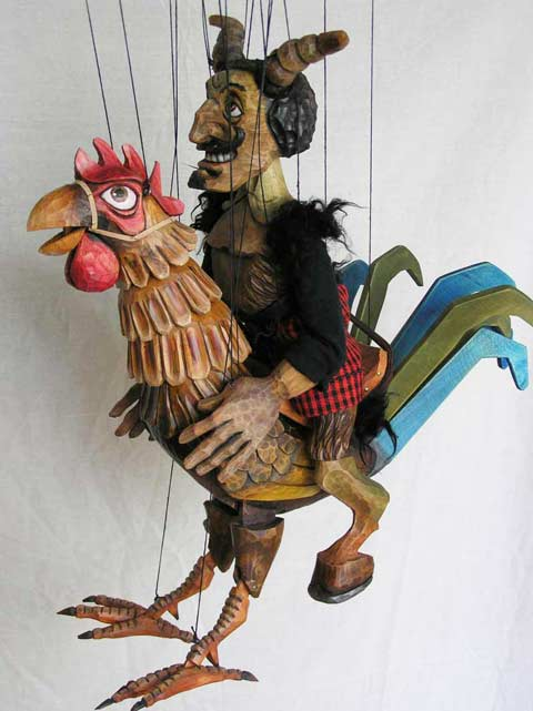 Devil on rooster ,  marionette puppet