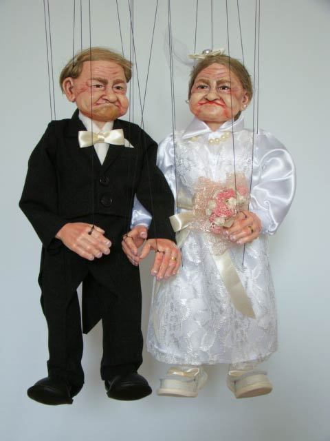 Groom and Bride, marionettes puppets