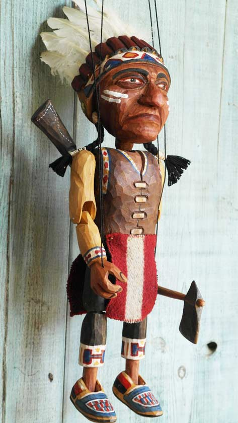 Indian chieftain wood marionette