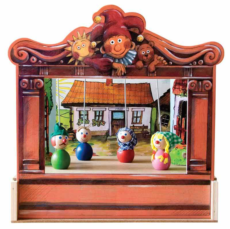 Home puppets theater and 4 marionettes