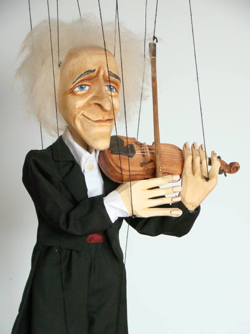Violinist masterly musician marionette