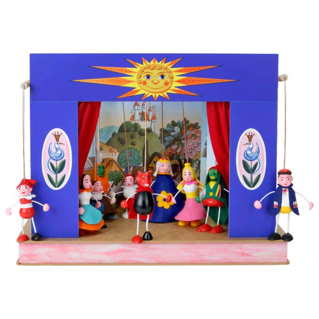 "Portable puppet theatre ""Sunshine"" and 10 marionettes"