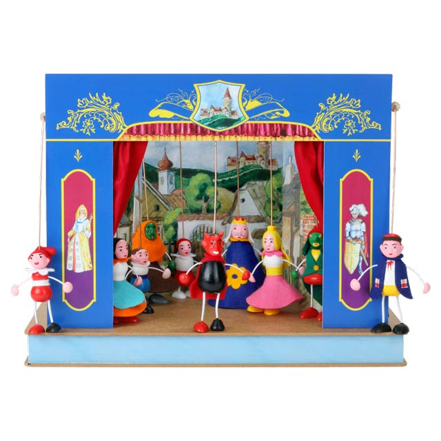 "Portable puppet theatre ""Castle"" and 10 marionettes"